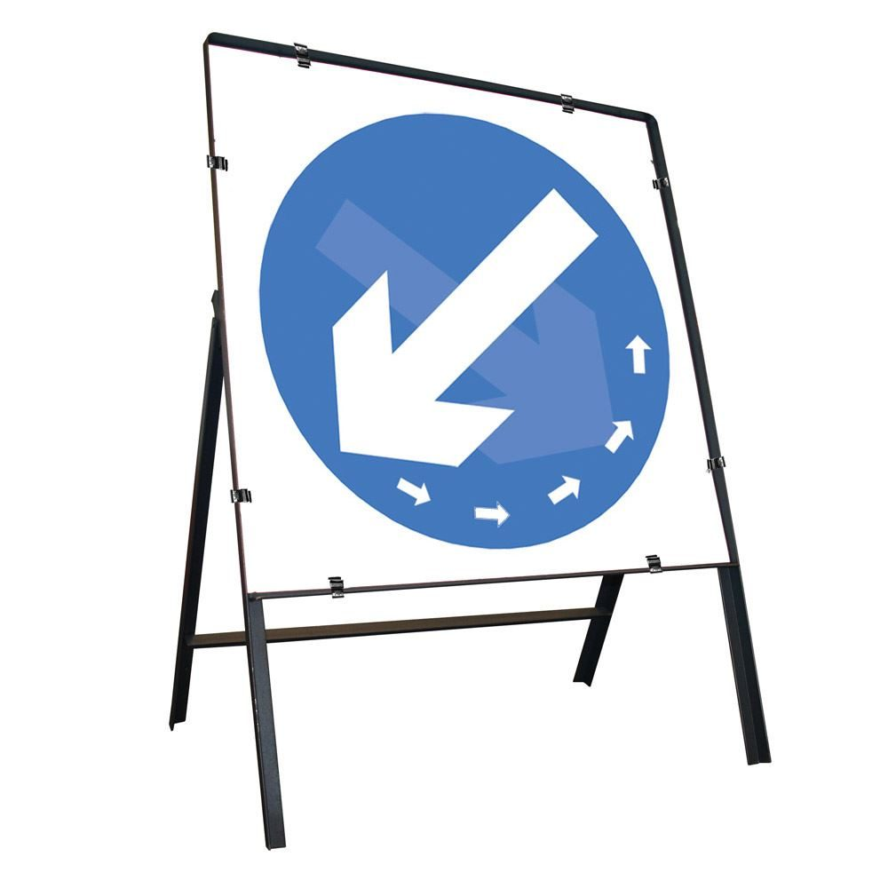 Keep Left / Right Rotating Clipped Square Metal Road Sign - 750mm