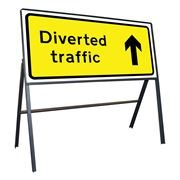 Diverted Traffic Ahead Riveted Metal Road Sign - 1050 x 450mm
