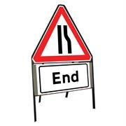 Road Narrows Offside Riveted Triangular Metal Road Sign with End Supplement Plate - 900mm