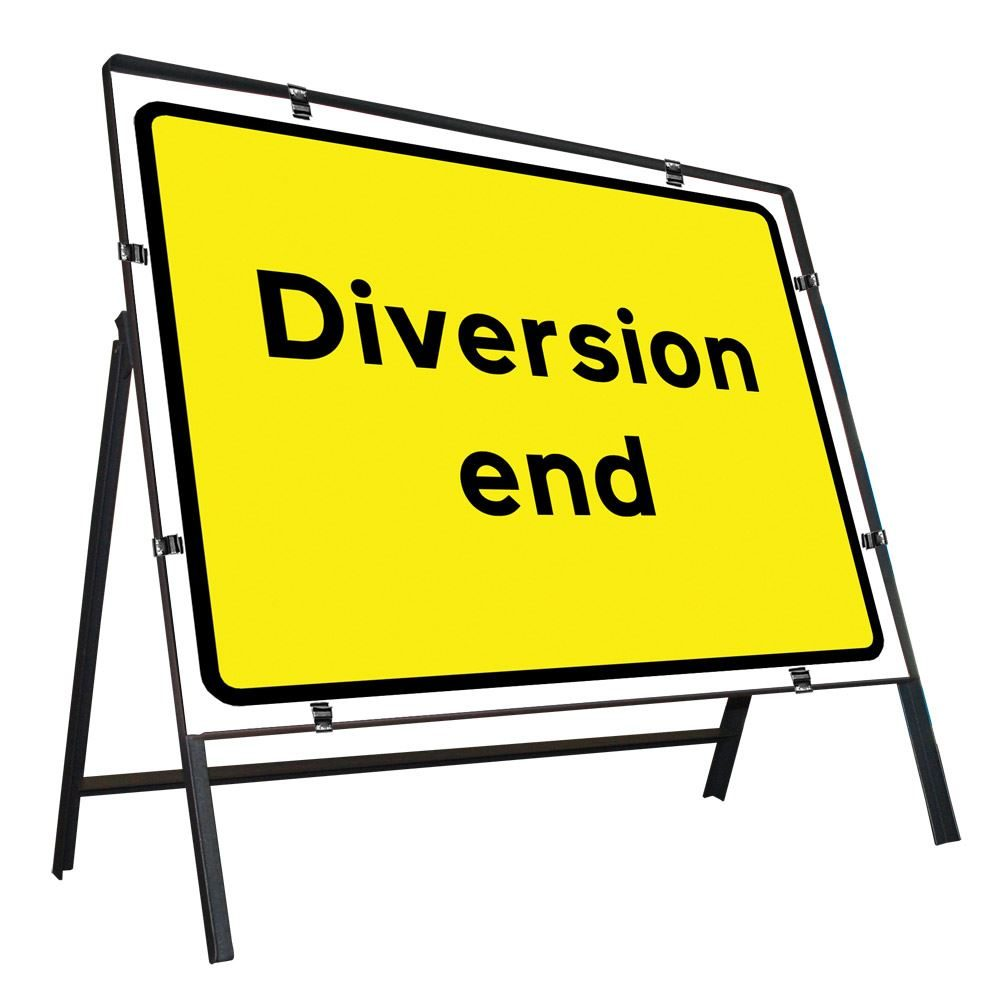 Diversion End Clipped Metal Road Sign - 1050 x 750mm
