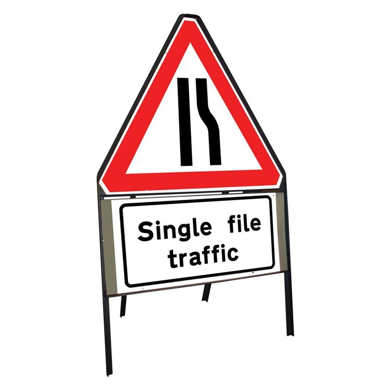 Road Narrows Offside Riveted Triangular Metal Road Sign with Single File Traffic Supplement Plate - 900mm