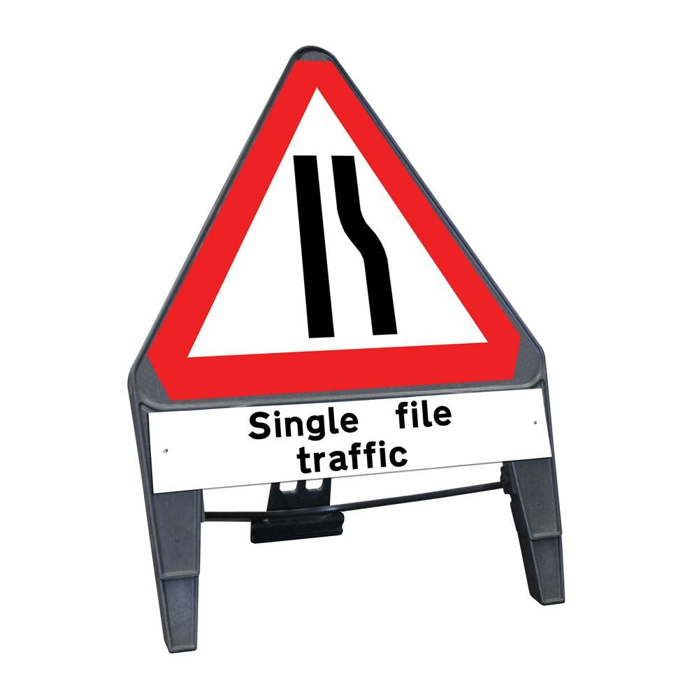 CuStack Road Narrows Offside Triangular Sign with Single File Traffic Supplement Plate - 750mm