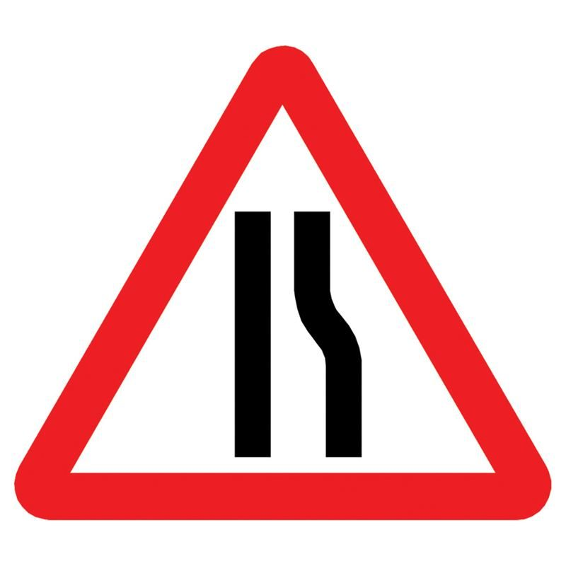 Road Narrows Offside Triangular Metal Road Sign Plate - 900mm