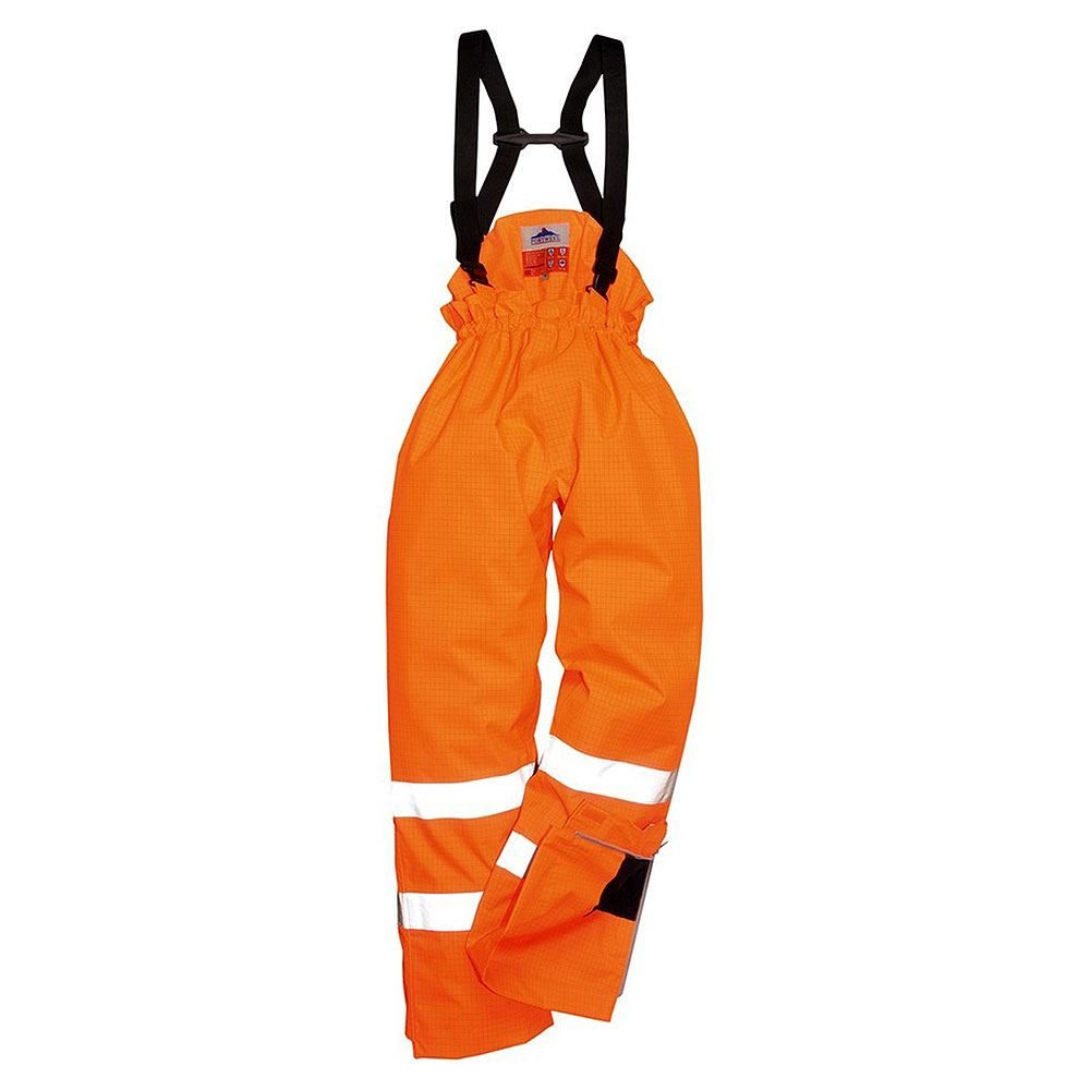 Rail Flame Retardant Anti Static Waterproof Breathable Hi Vis Class 1 Orange Padded Lined Bib and Brace