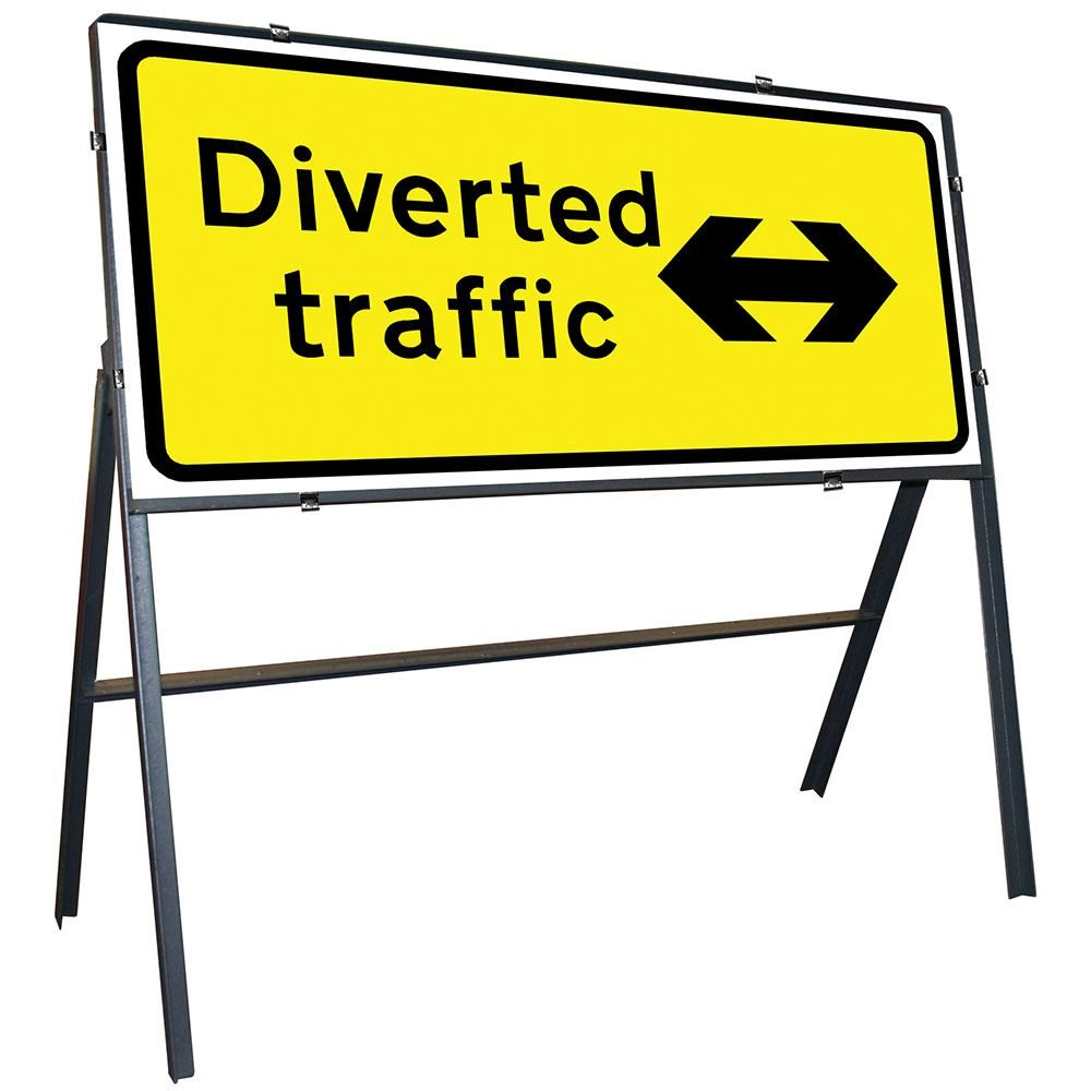 Diverted Traffic Left / Right Reversible Clipped Metal Road Sign - 1050 x 450mm
