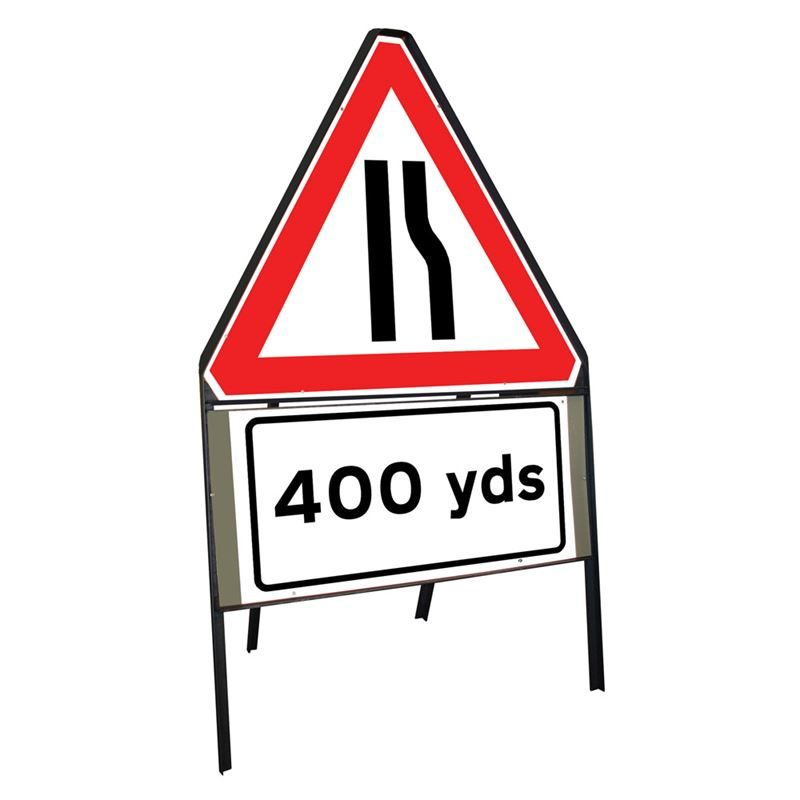 Road Narrows Offside Riveted Triangular Metal Road Sign with 400 Yards Supplement Plate - 900mm