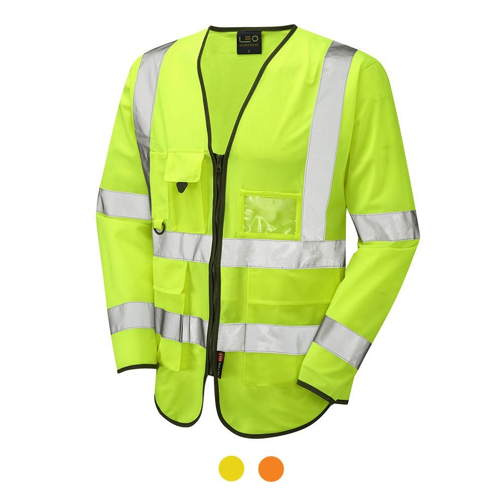 Leo Wrafton Hi Vis Class 3 Executive Long Sleeve Zip Waistcoat