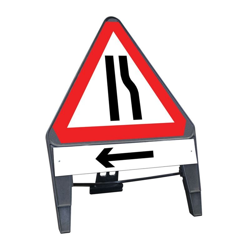 CuStack Road Narrows Offside Triangular Sign with Arrow Left Supplement Plate - 750mm