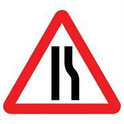 Road Narrows Offside Triangular Metal Road Sign Plate - 750mm