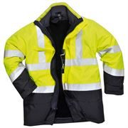 Bizflame Flame Retardant Waterproof Breathable Hi Vis Class 3 Multi Protection Yellow/Navy Jacket
