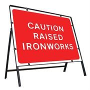 Caution Raised Ironworks Clipped Metal Road Sign - 1050 x 750mm