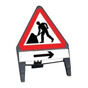 CuStack Men at Work Roadworks Triangular Sign with Arrow Right Supplement Plate - 750mm