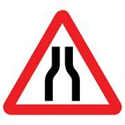 Road Narrows Both Sides Triangular Metal Road Sign Plate - 750mm