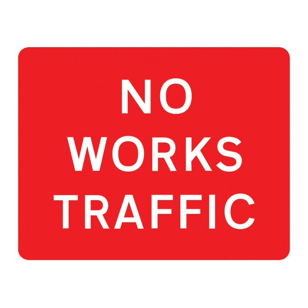 No Works Traffic Metal Road Sign Plate - 1050 x 750mm