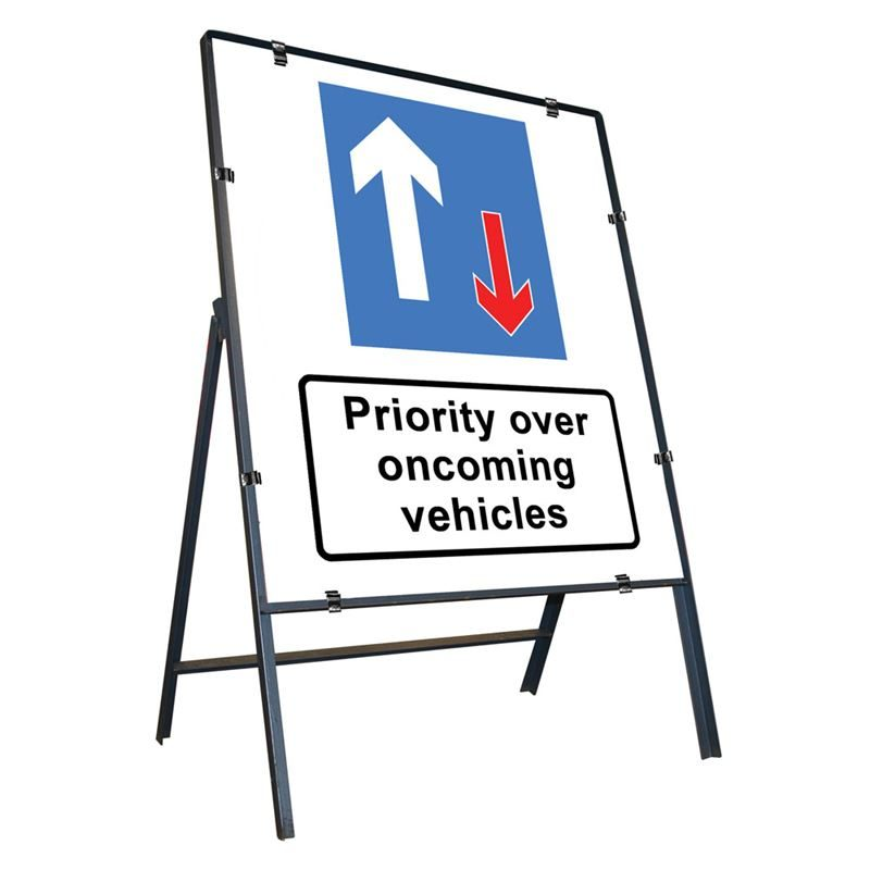 Priority Over Oncoming Vehicles Clipped Metal Road Sign - 800 x 900mm