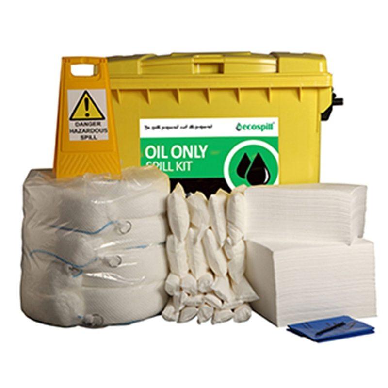 Ecospill Oil Only Spill Response Kit - 4 Wheel PE Bin - 600 Litre