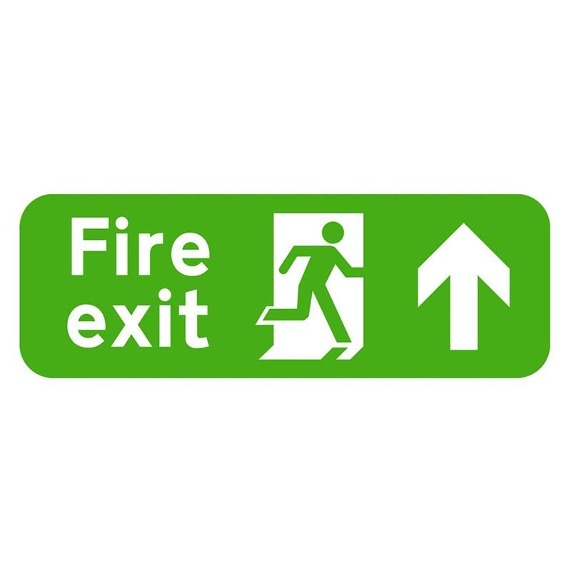 Fire Exit Arrow Up Sign - 600 x 200 x 1mm