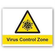 Virus Control Zone PVC Sign - 400mm x 300mm x 1mm