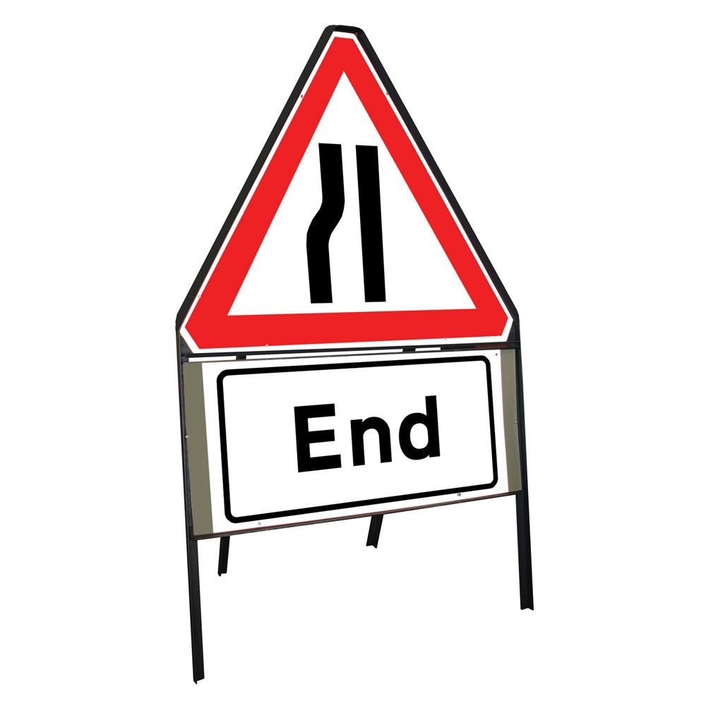 Road Narrows Nearside Riveted Triangular Metal Road Sign with End Supplement Plate - 900mm