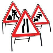 Riveted Triangular Metal Road Signs - 750mm