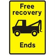 Free Recovery Ends Traffic Management Sign