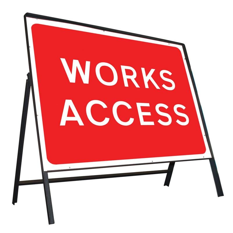 Works Access Riveted Metal Road Sign - 1050 x 750mm