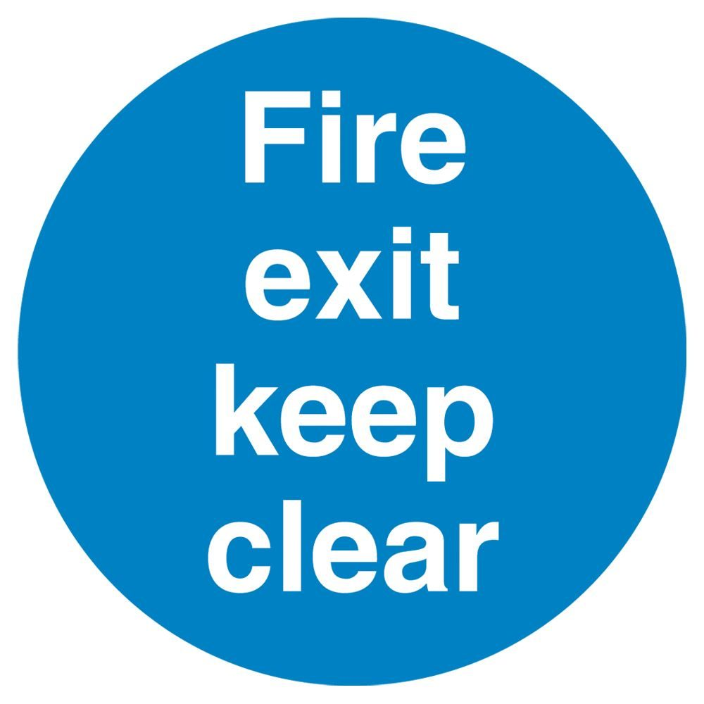 Fire Exit Keep Clear Sign - 100 x 100 x 1mm