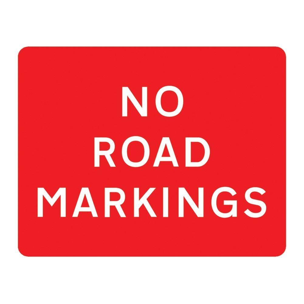 No Road Markings Metal Road Sign Plate - 1050 x 750mm