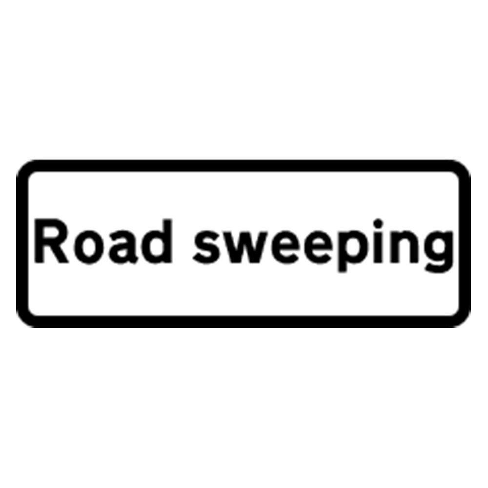 Classic Road Sweeping Roll Up Road Sign Supplement Plate - 750mm