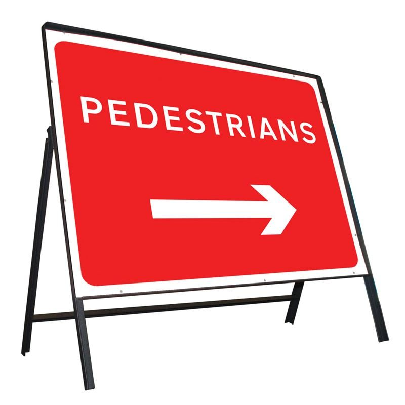 Pedestrians Right Riveted Metal Road Sign - 600 x 450mm