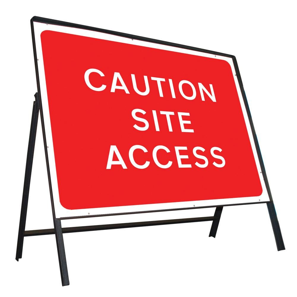 Caution Site Access Riveted Metal Road Sign - 1050 x 750mm