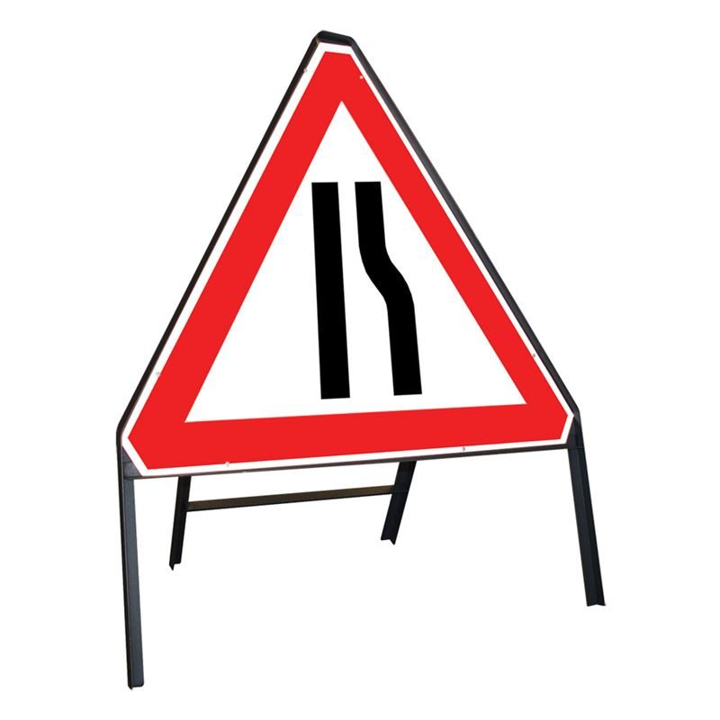 Road Narrows Offside Riveted Triangular Metal Road Sign - 750mm