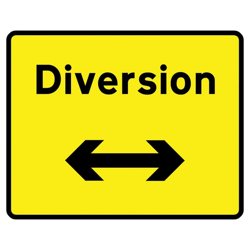Diversion Left / Right Reversible Metal Road Sign Plate - 1050 x 750mm