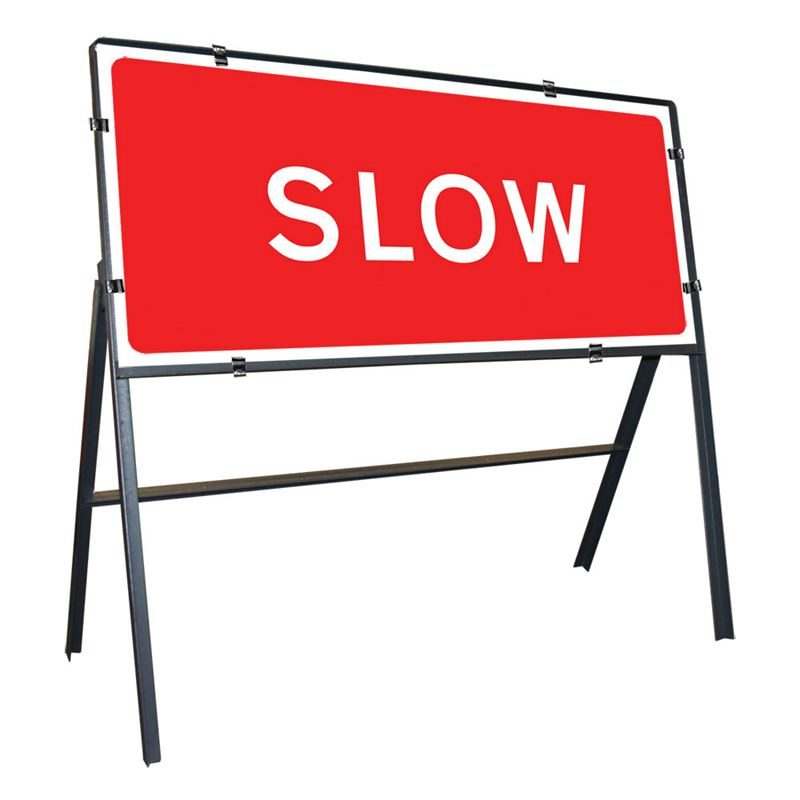 Slow Clipped Metal Road Sign - 1050 x 450mm