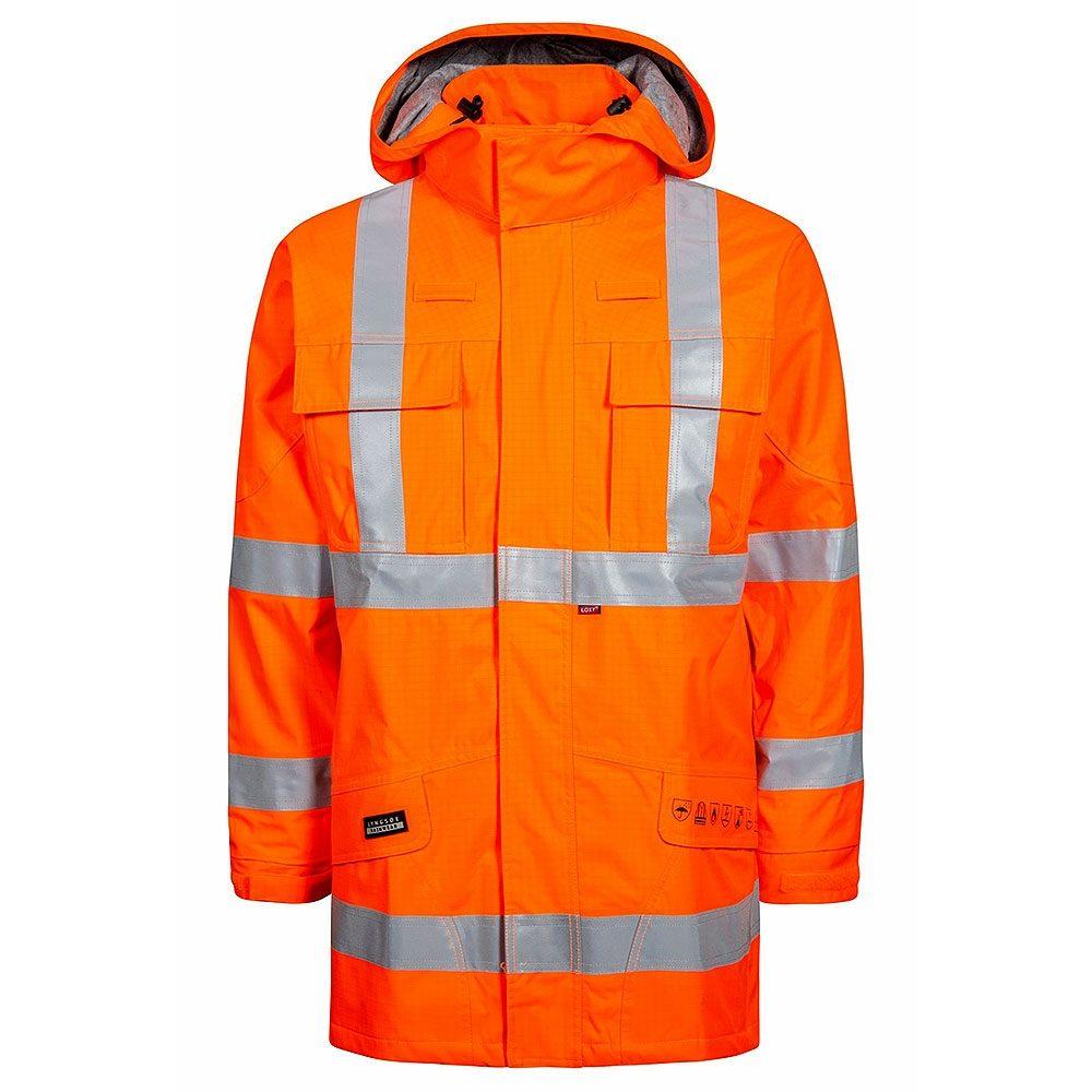 Rail Flame Retardant Anti Static Waterproof Breathable Arc Hi Vis Class 3 Orange Parka Jacket