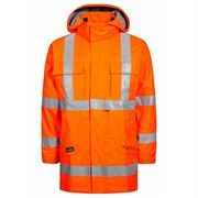 Rail Flame Retardant Anti Static Waterproof Breathable Arc Hi Vis Class 3 Orange Parka Jacket
