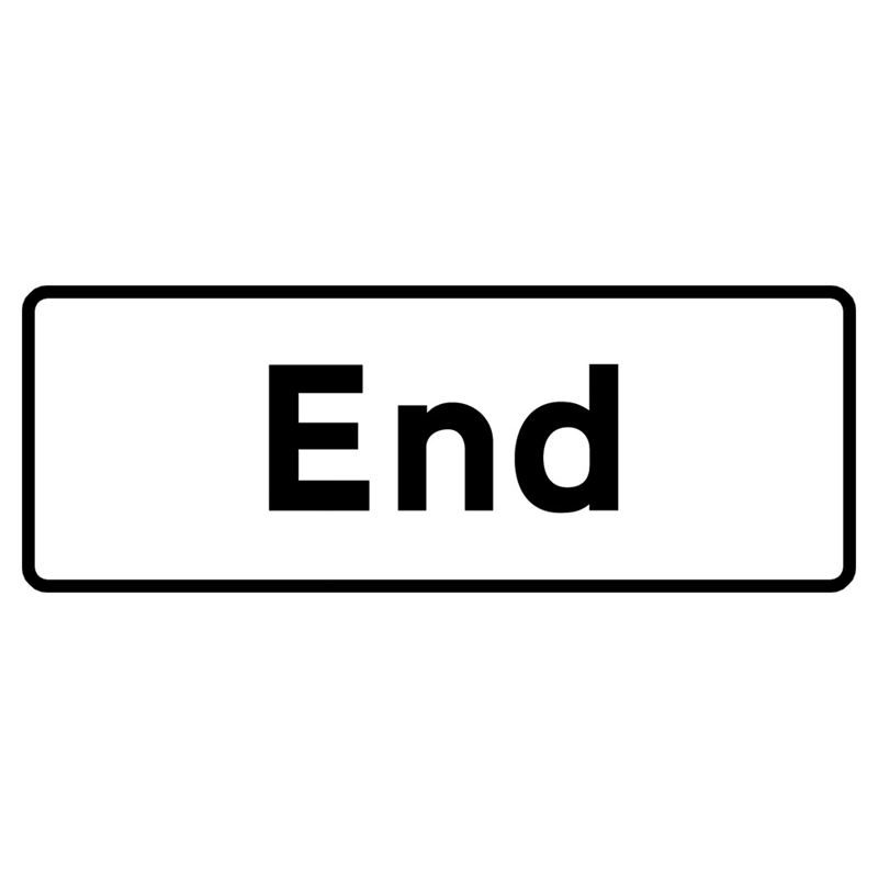End Metal Road Sign Supplement Plate - 750mm