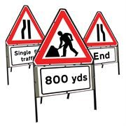 Riveted Triangular Metal Road Signs with Supplement Plates - 750mm