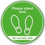 Please Stand Here Anti Slip Floor Graphic - 200mm