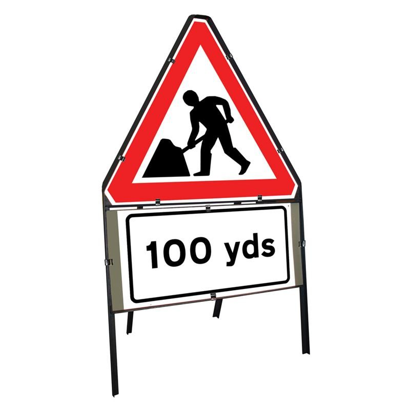 Men at Work Roadworks Clipped Triangular Metal Road Sign with 100 Yards Supplement Plate - 750mm