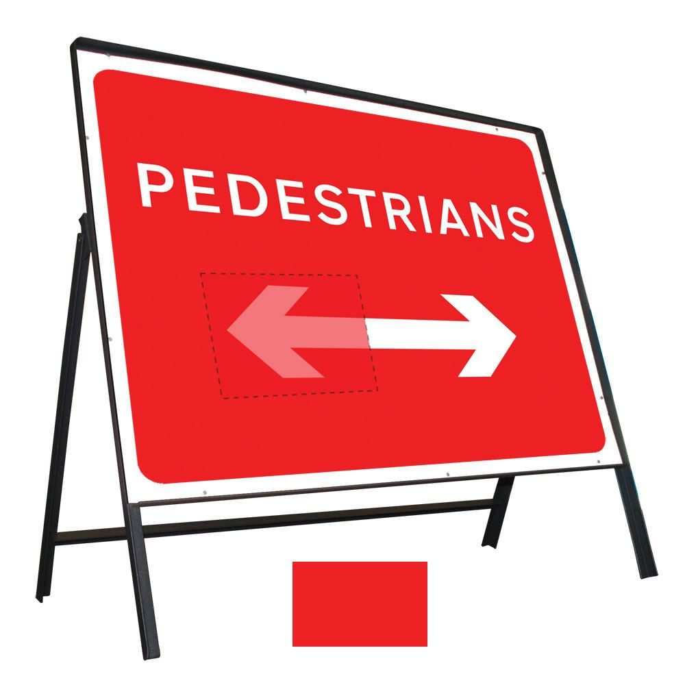 Pedestrians Left / Right Reversible Riveted Metal Road Sign - 600 x 450mm