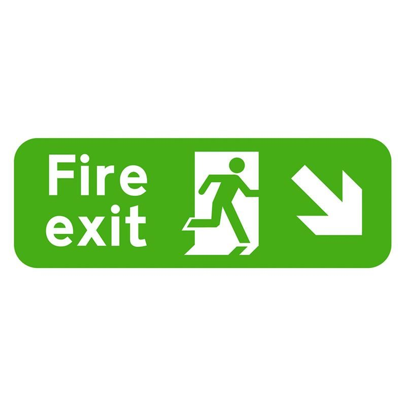 Fire Exit Arrow Down Right Sign - 600 x 200 x 1mm