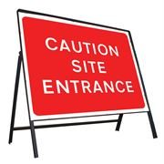 Caution Site Entrance Riveted Metal Road Sign - 1050 x 750mm