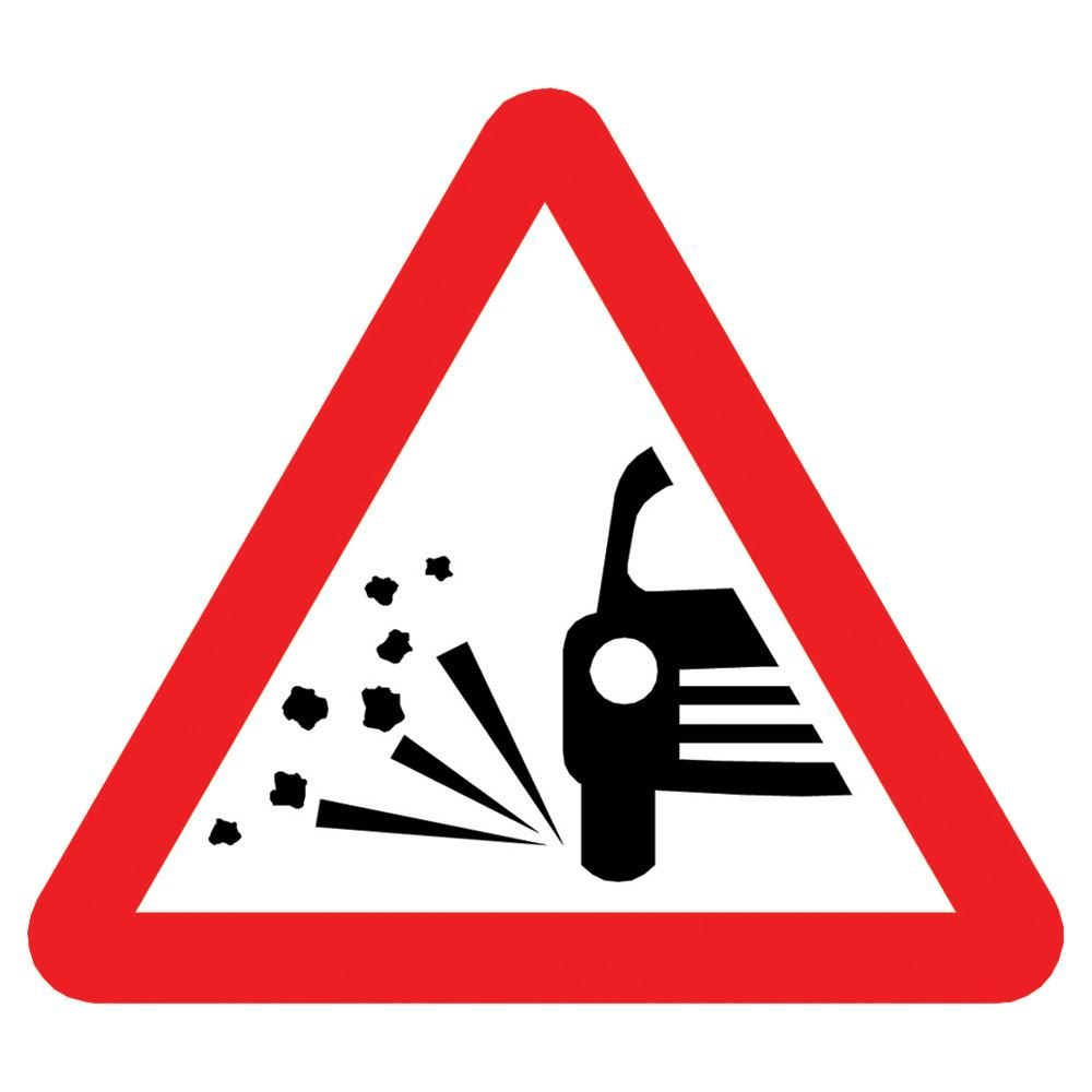 Loose Chippings Triangular Metal Road Sign Plate - 750mm