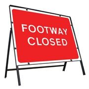 Footway Closed Clipped Metal Road Sign - 600 x 450mm