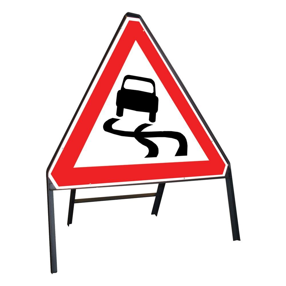 Slippery Road Riveted Triangular Metal Road Sign - 750mm