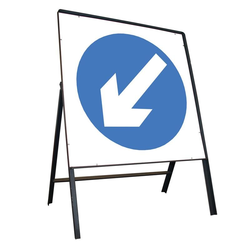 Keep Left Riveted Square Metal Road Sign - 750mm