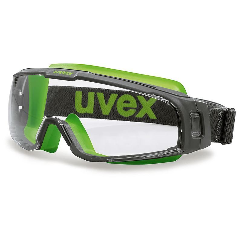 Uvex U-Sonic Safety Goggles - Grey / Lime Frame, Clear Lens
