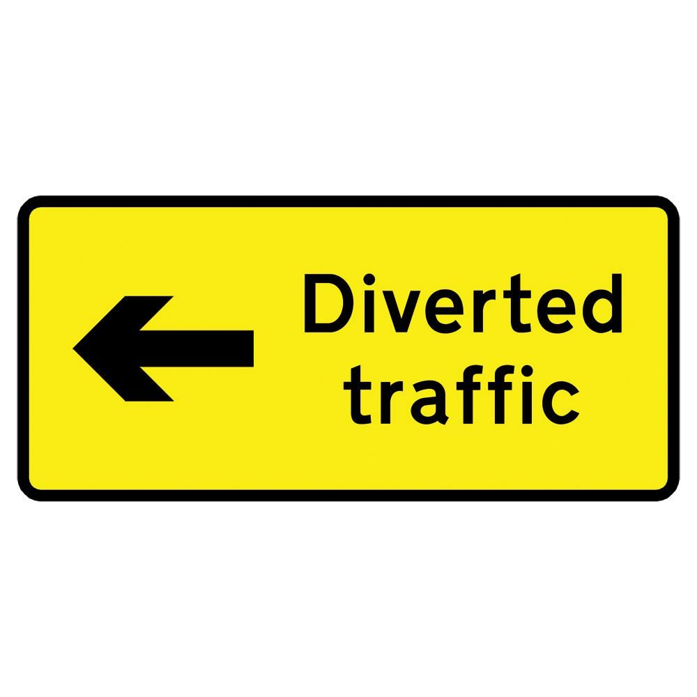 Diverted Traffic Left Metal Road Sign Plate - 1050 x 450mm