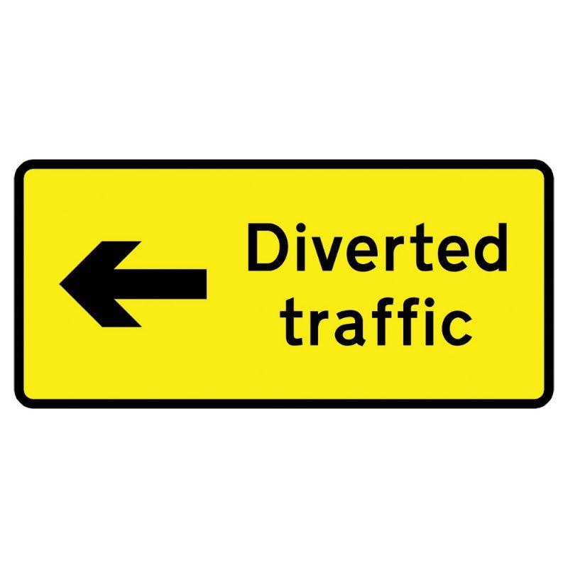Diverted Traffic Left Metal Road Sign Plate - 1050 x 450mm